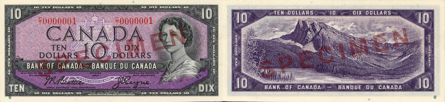 10 dollars 1954 without the devil's face - Canada Banknote