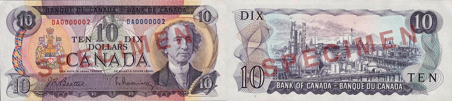 10 dollars 1969 à 1975