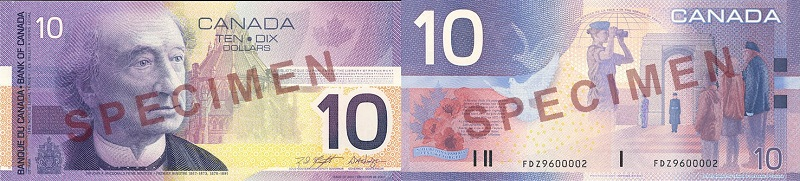 10 dollars 2001 to 2002 - Canada Banknotes