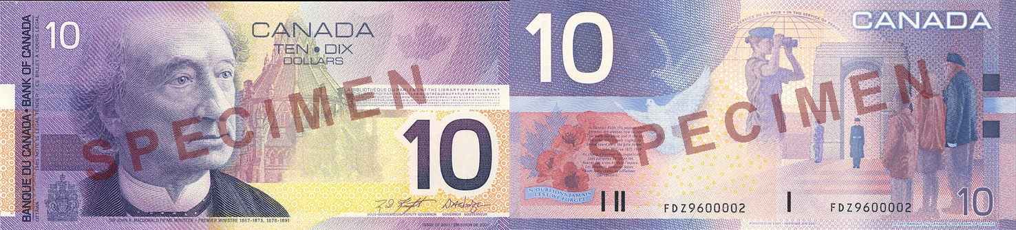 10 dollars 2001 to 2002 - Canada Banknote