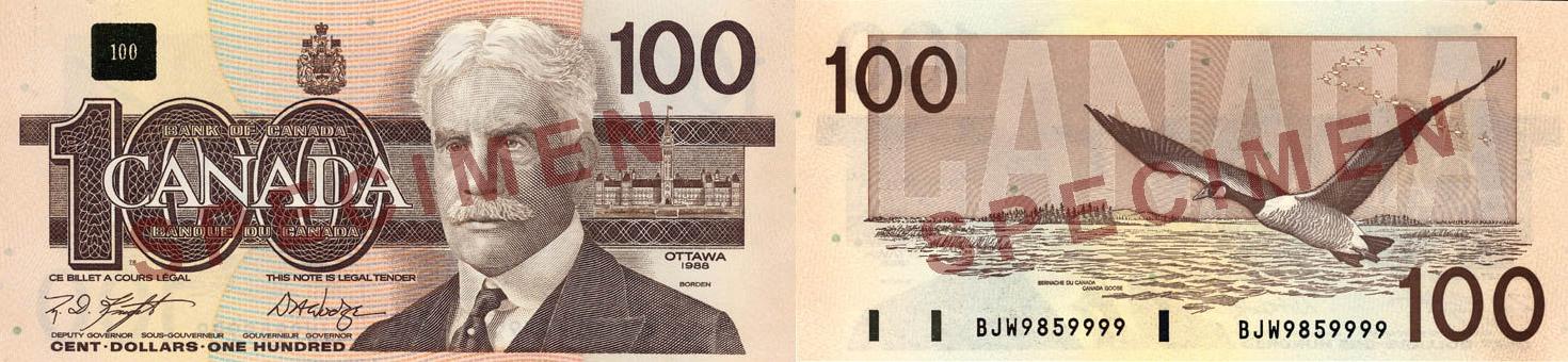 1986 - 100 dollars