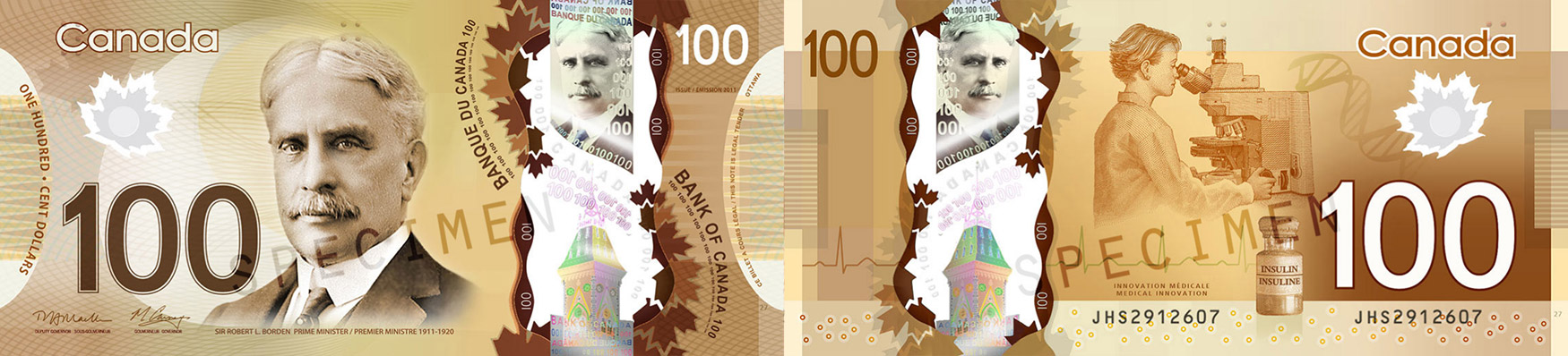 100 dollars 2011 to 2016 - Canada Banknote