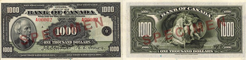 1,000 dollars 1935 - Canada Banknote