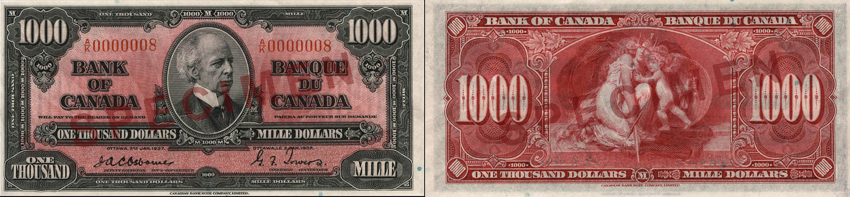 1,000 dollars 1937 - Canada Banknote