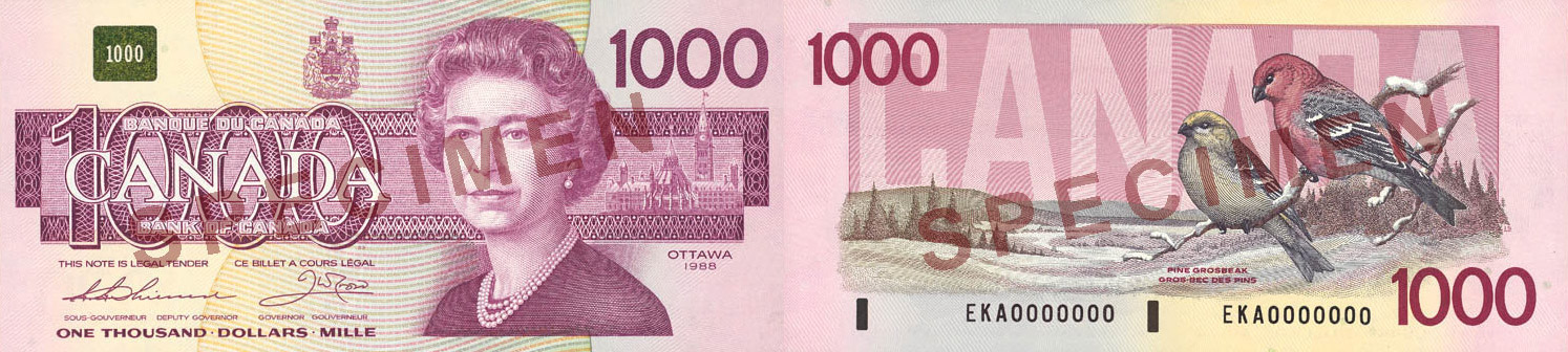 1,000 dollars 1986 to 1991 - Canada Banknote