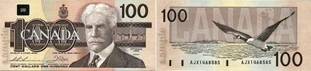 100 dollars 1986 to 1991
