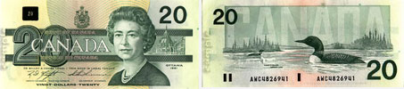 20 dollars 1986 to 1991