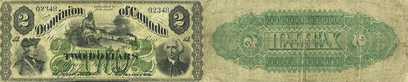 2 dollars 1870 values and prices - Dominion of Canada banknote
