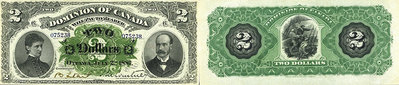 2 dollars 1887 values and prices - Dominion of Canada banknote