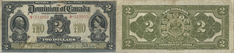 2 dollars 1914 values and prices - Dominion of Canada banknote