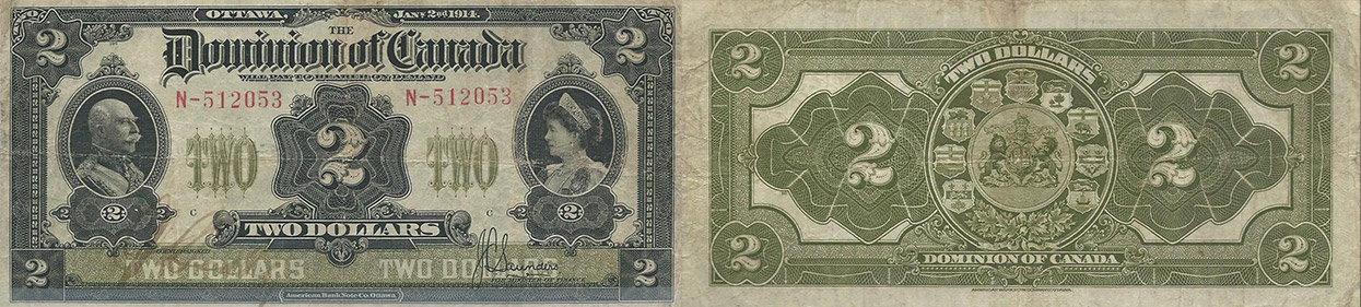 2 dollars 1914 - Dominion of Canada Banknote