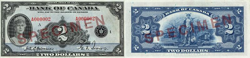 2 dollars 1935 - Canada Banknote