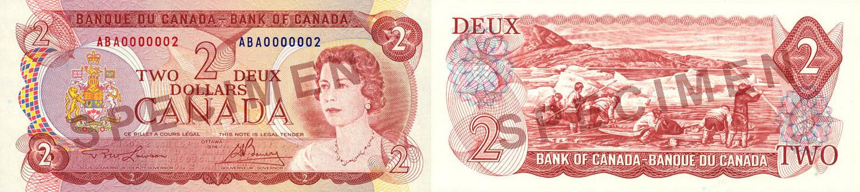 2 dollars 1969 à 1975