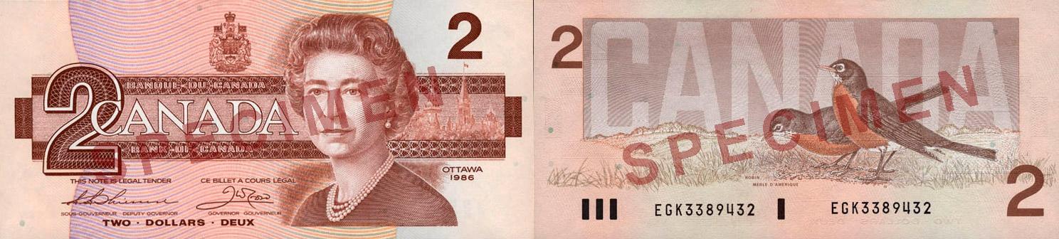 2 dollars 1986 - Birds of Canada banknotes