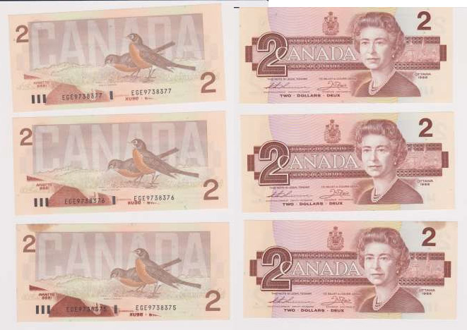 canadian paper money value by serial numbers