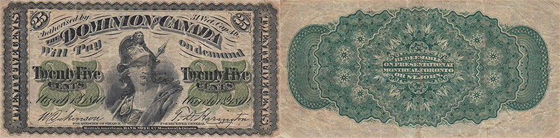 25 cents 1870 values and prices - Dominion of Canada banknote