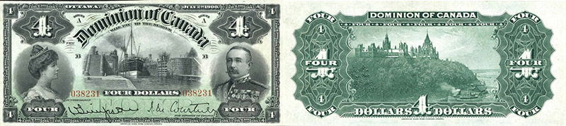 4 dollars 1900 values and prices - Dominion of Canada banknote