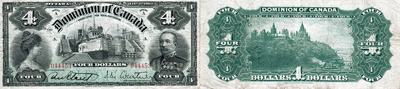 4 dollars 1902 values and prices - Dominion of Canada banknote