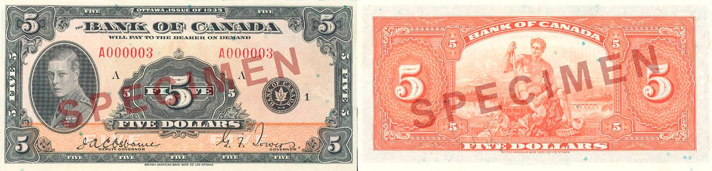 5 dollars 1935 - Canada Banknote