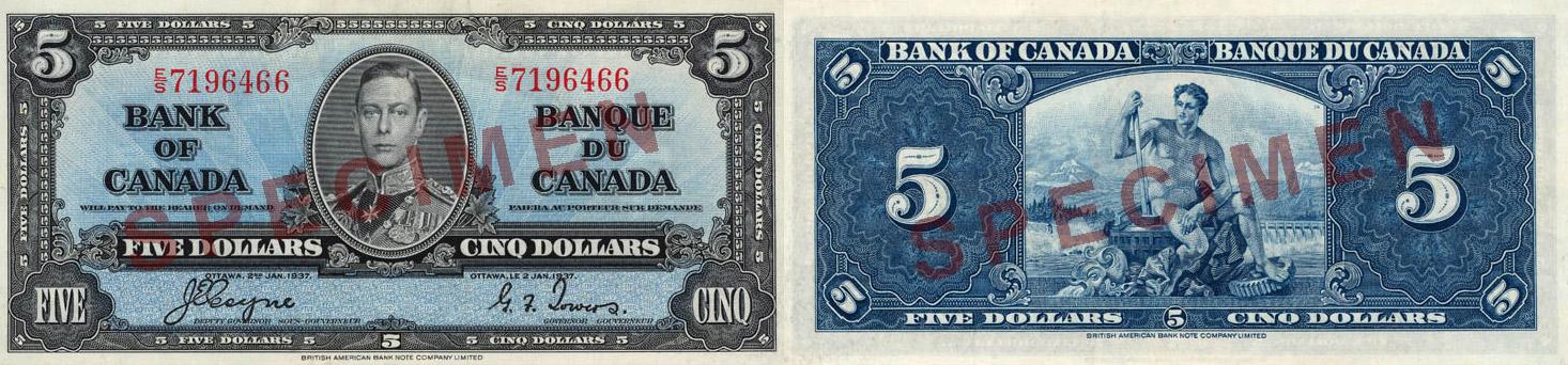 1937 - 5 dollars
