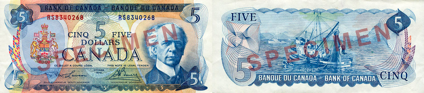 5 dollars 1969 to 1975 - Canada Banknote