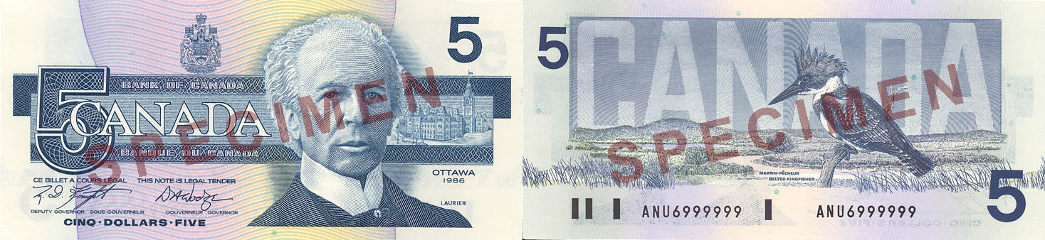 5 dollars 1986 to 1991 - Canada Banknote