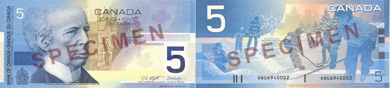 5 dollars 2001 to 2002 - Canada Banknote