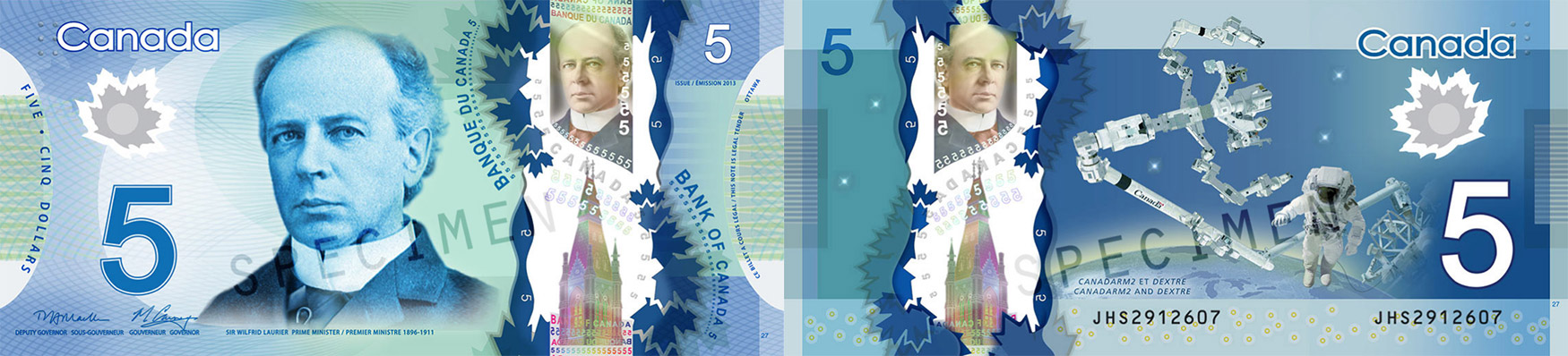 5 dollars 2011 to 2016 - Canada Banknote