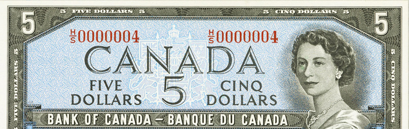 Low number (2 to 9) - Special serial numbers - Canadian Banknotes