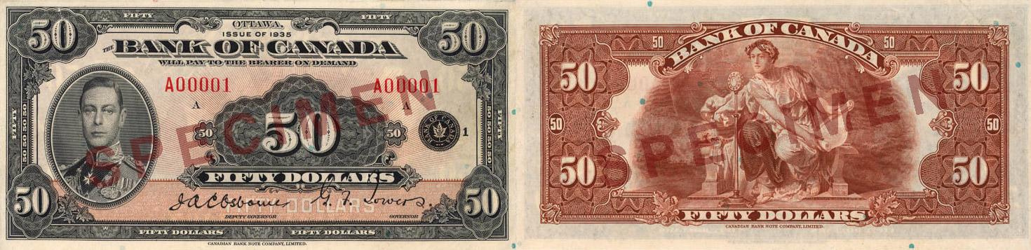 50 dollars 1935 - Canada Banknote