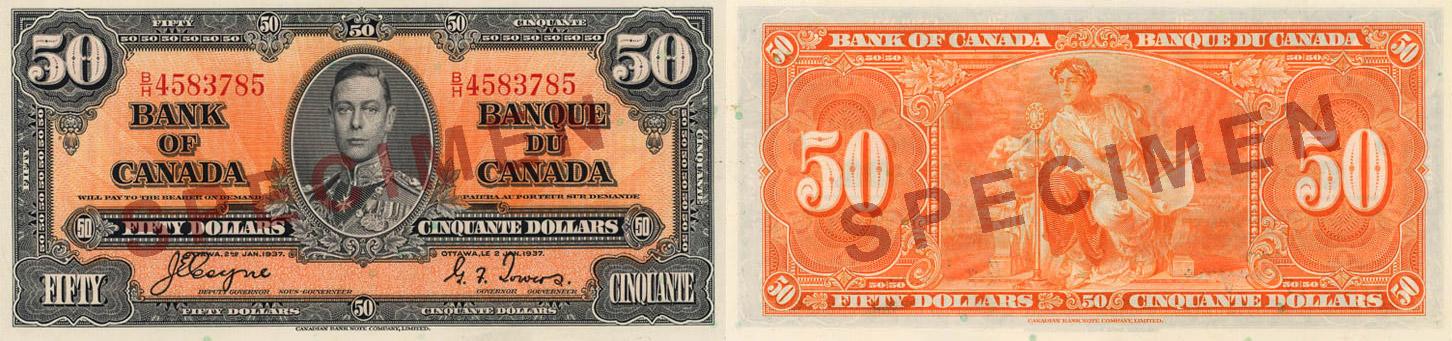 50 dollars 1937 - Canada Banknote