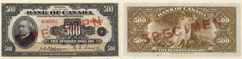 500 dollars 1935 - Canada Banknote