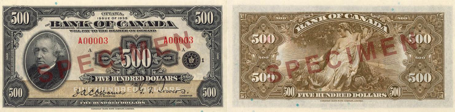 1935 - 500 dollars