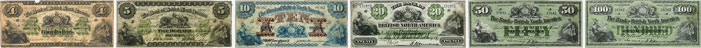 Bank of British North America banknotes of 1877