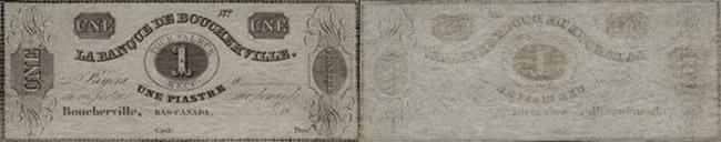 1 dollar 1837 - Banque de Boucherville banknotes