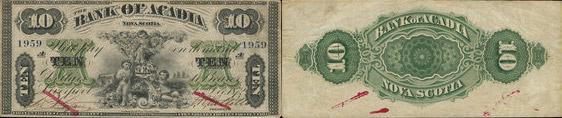 10 dollars 1872 - Bank of Acadia banknotes