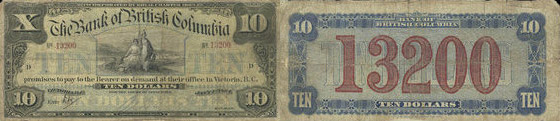 Bank of Brantford banknotes values - 10 dollars 1894