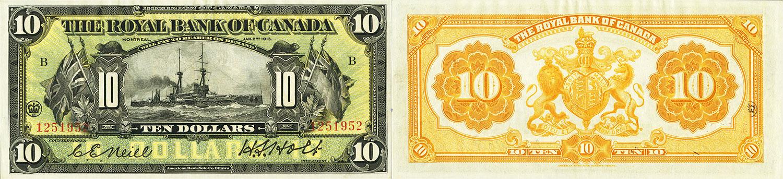 10 dollars 1913 - Royal Bank of Canada banknotes