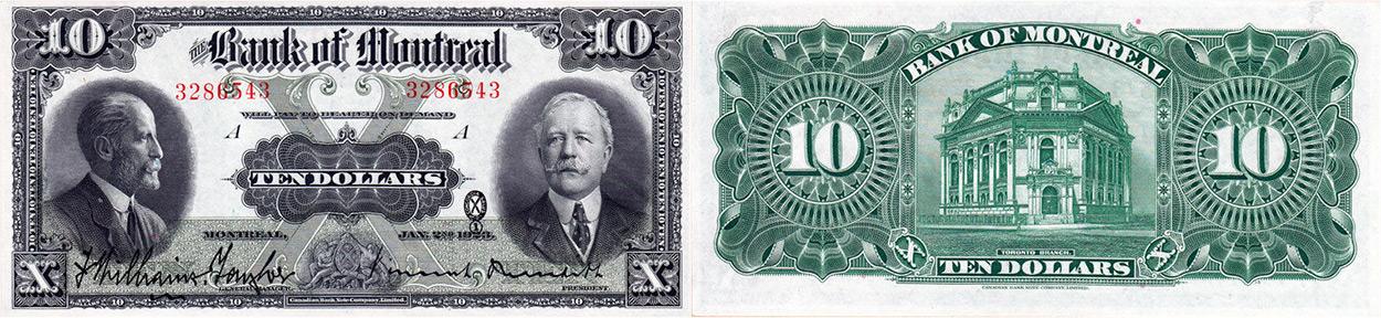 10 dollars 1923 - Bank of Montreal banknotes