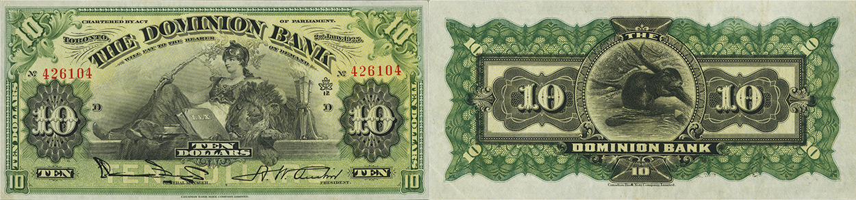 10 dollars 1925 - Dominion Bank banknotes