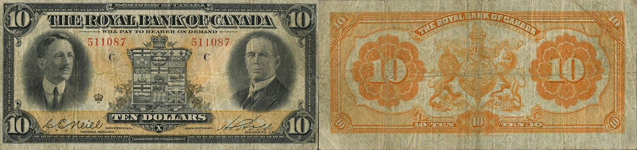 10 dollars 1927 - Royal Bank of Canada banknotes