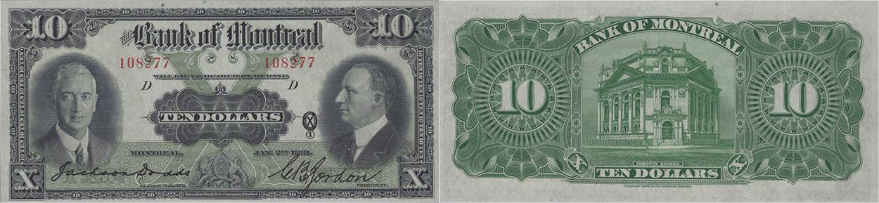 10 dollars 1931 - Bank of Montreal banknotes