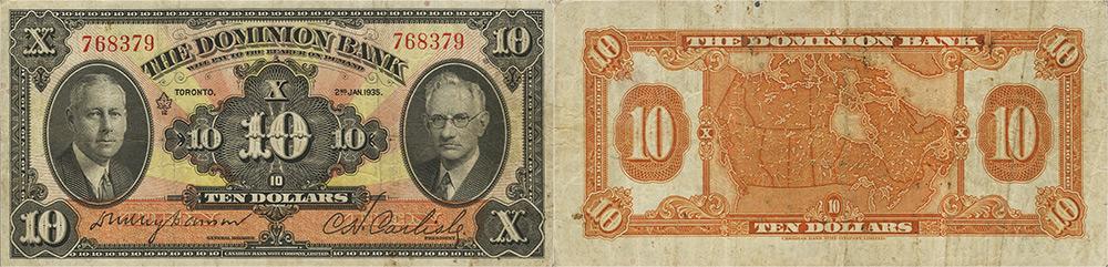 10 dollars 1931 - Dominion Bank banknotes