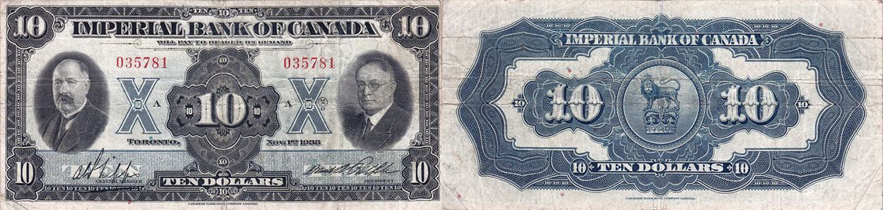 10 dollars 1933 - Imperial Bank of Canada banknotes
