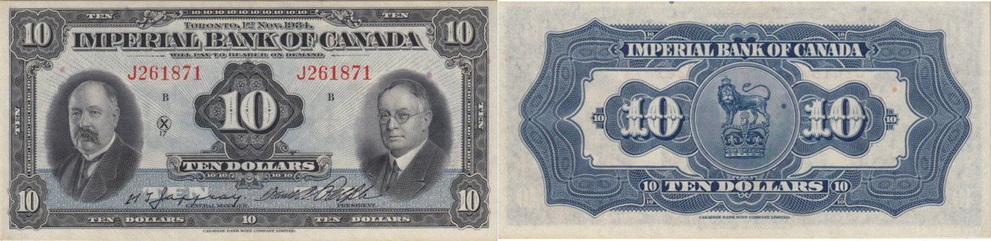 10 dollars 1934 - Imperial Bank of Canada banknotes