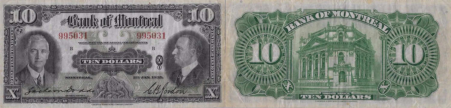 10 dollars 1935 - Bank of Montreal banknotes
