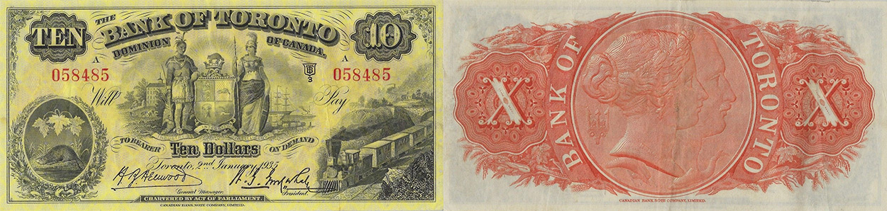 10 dollars 1935 - Bank of Toronto banknotes