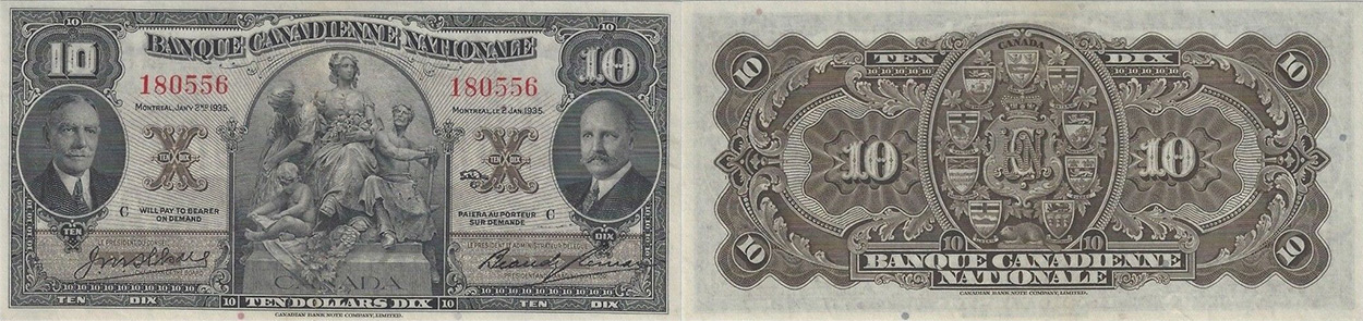 10 dollars 1935 - Banque Canadienne Nationale banknotes