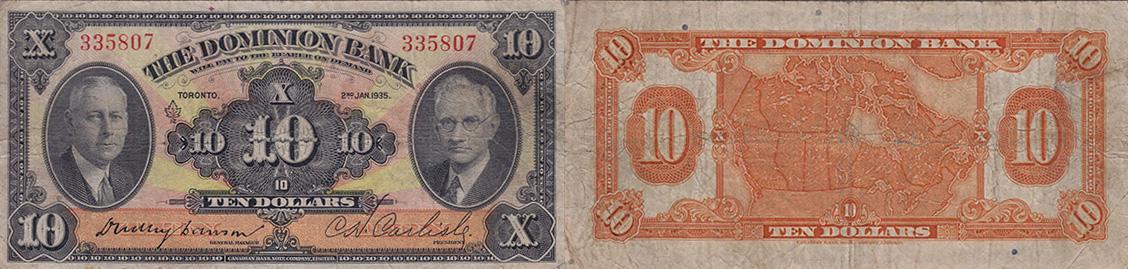 10 dollars 1935 - Dominion Bank banknotes