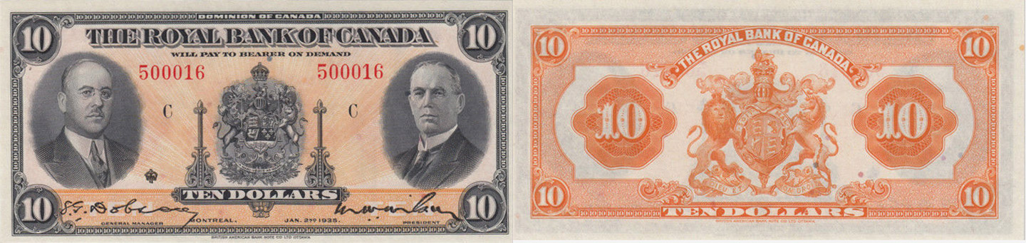 10 dollars 1935 - Royal Bank of Canada banknotes